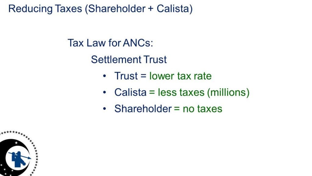 Reducing Taxes for Shareholders & Calista