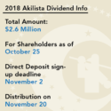 2018 Akilista Dividend - Calista Corporation