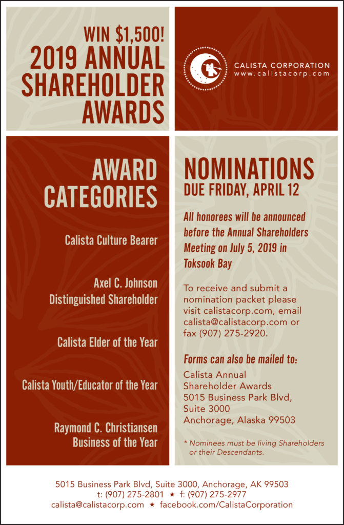 Calista 2019 Shareholder Awards