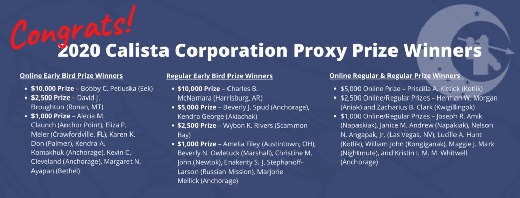 2020 Calista Proxy Prize Winners
