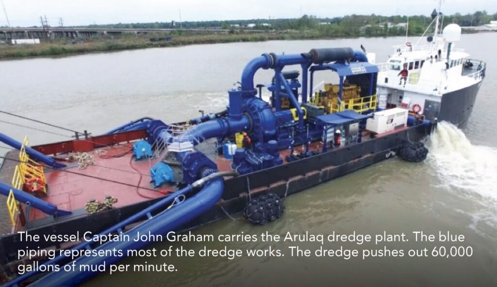 The vessel Captain John Graham carries the Arulaq dredge plant. The blue piping represents most of the dredge works. The dredge pushes out 60,000 gallons of mud per minute.
