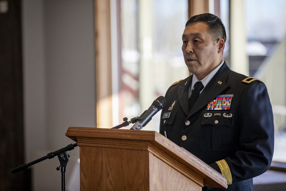 Director Wayne Don gives a speech after receiving a promotion to brigadier general in the Alaska National Guard in February. Photo courtesy: U.S. Army National Guard photo by Edward Eagerton.