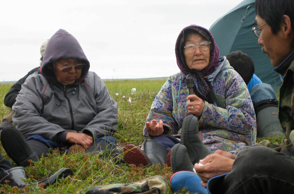 CECI research team interviewing Elder Anna Agnes about traditional knowledge. Interviews led to published books and use of the materials in the Yuuyaraq curriculum.